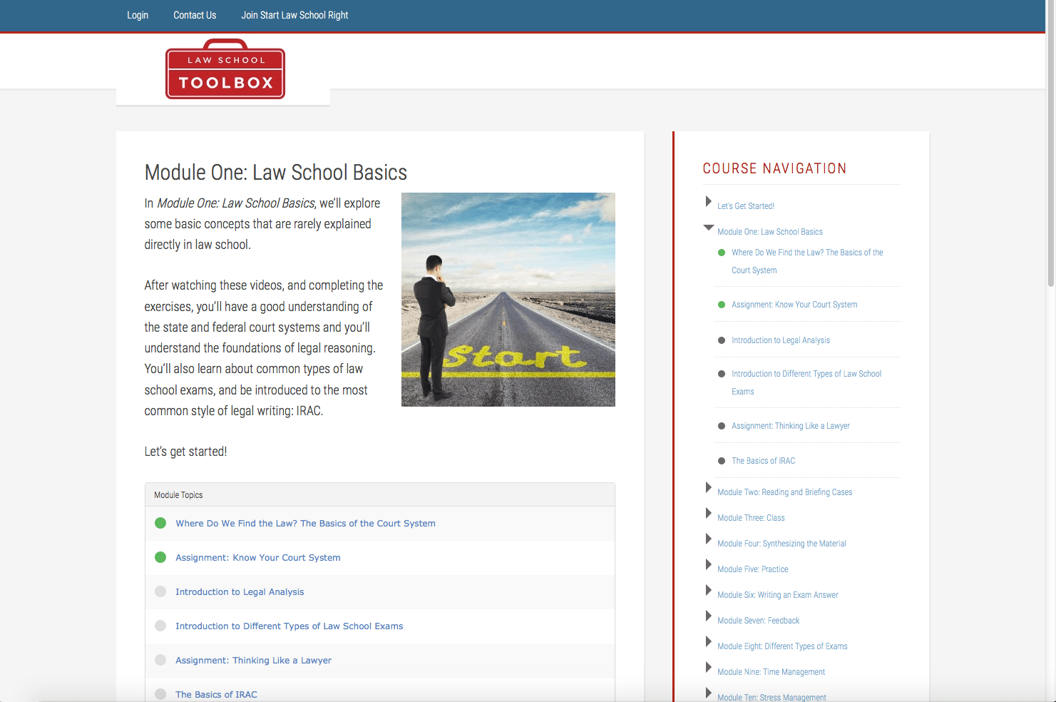 Start Law School Right Module