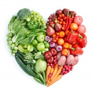 Eating Well in Law School - Heart with Fruits and Vegetables